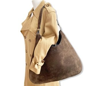 Salvatore Ferragamo Hobos Shoulder Bag Suede Brown